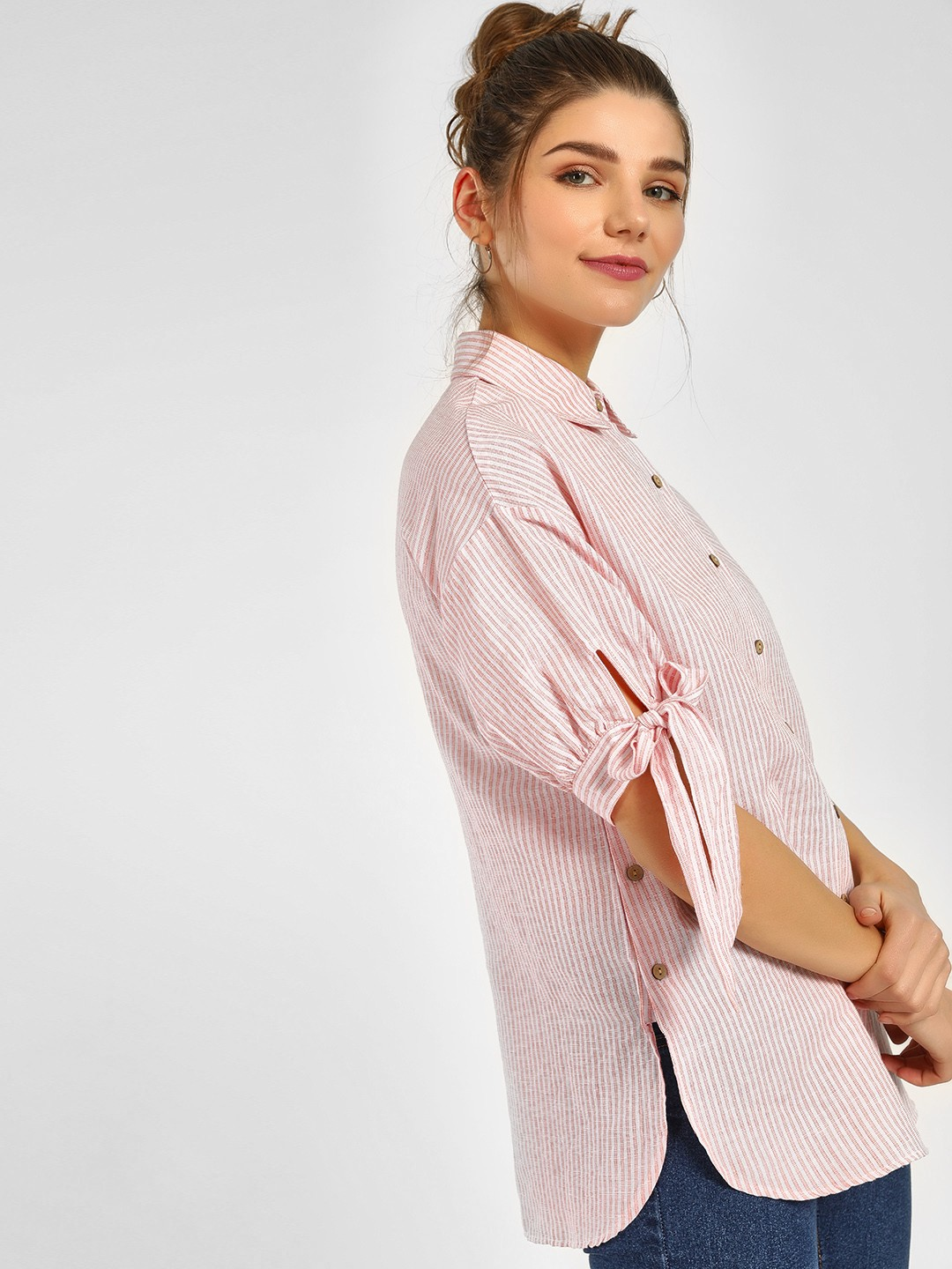 Cover Story Pink Stripe Striped Tie Cuff Shirt 1