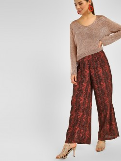 Cover Story Snake Print Split Side Trousers
