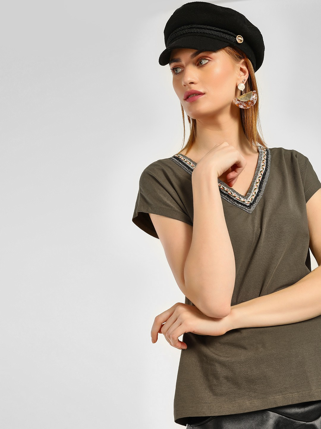 Cover Story Olive V-Neck Sequins Embroidered T-Shirt 1