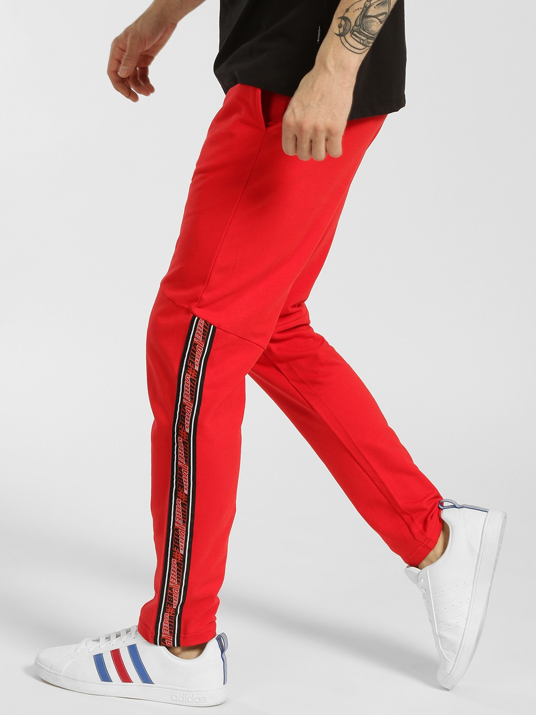 KOOVS Red Contrast Side Tape Panelled Joggers 1