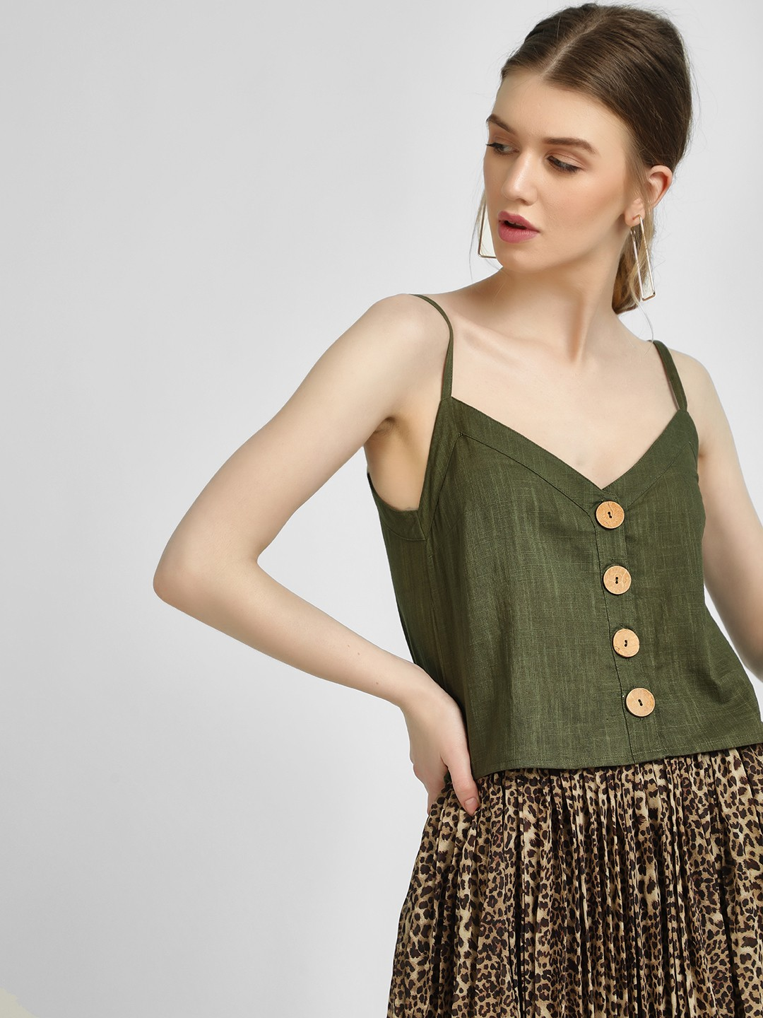 KOOVS Green Button Front Cami Top 1