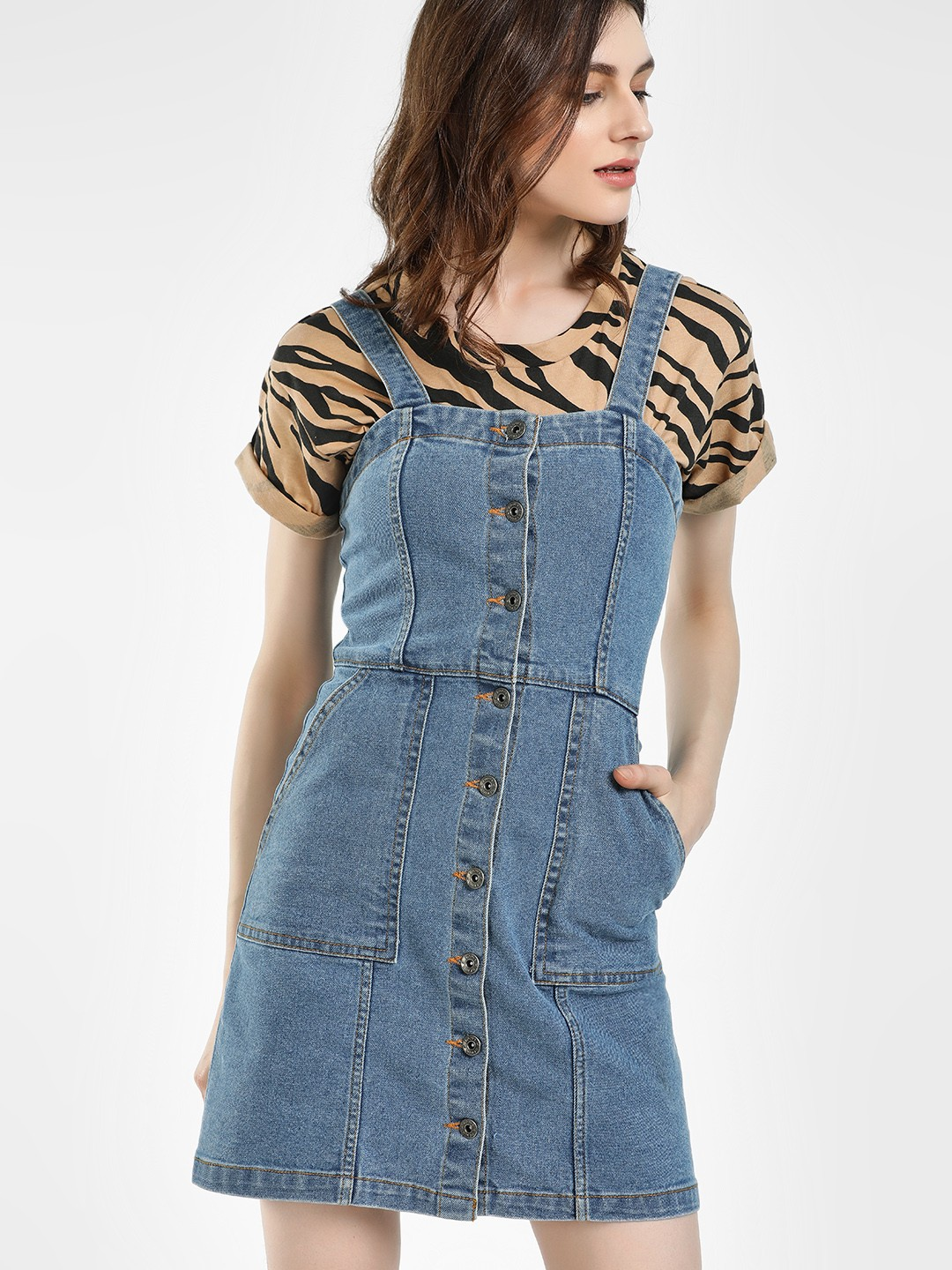 K Denim Blue KOOVS Pinafore Denim Dress 1