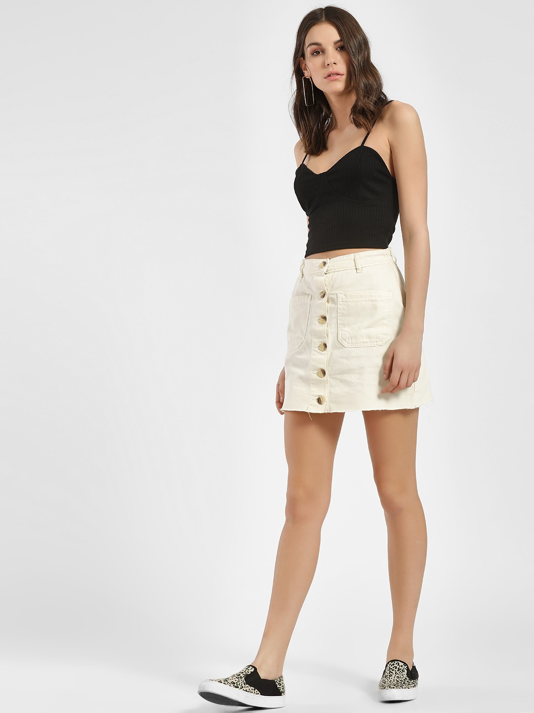 K Denim Off White KOOVS Horn Button Mini Denim Skirt 1