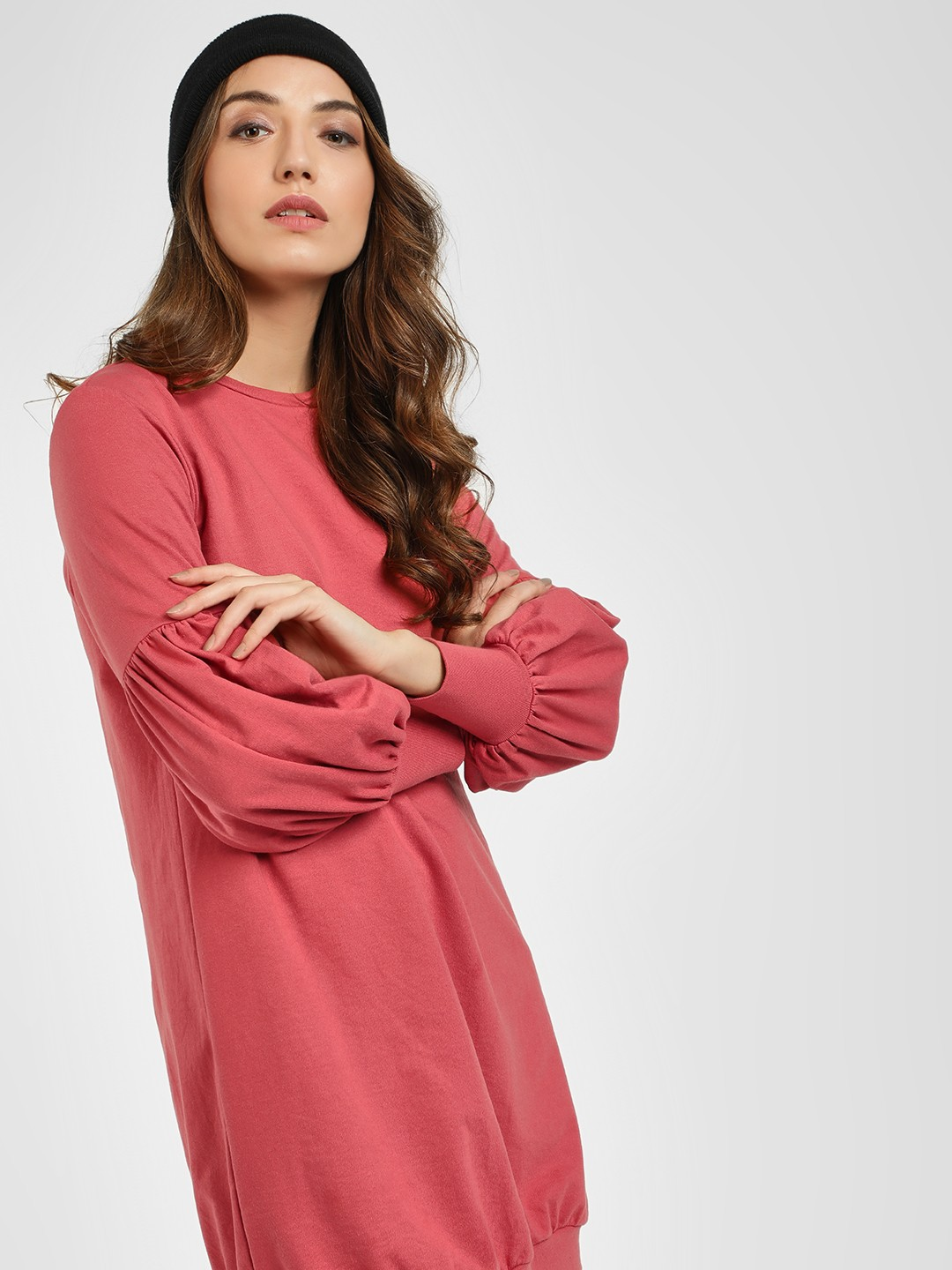 Femella Dark Blush Mutton Sleeve Sweatshirt Dress 1