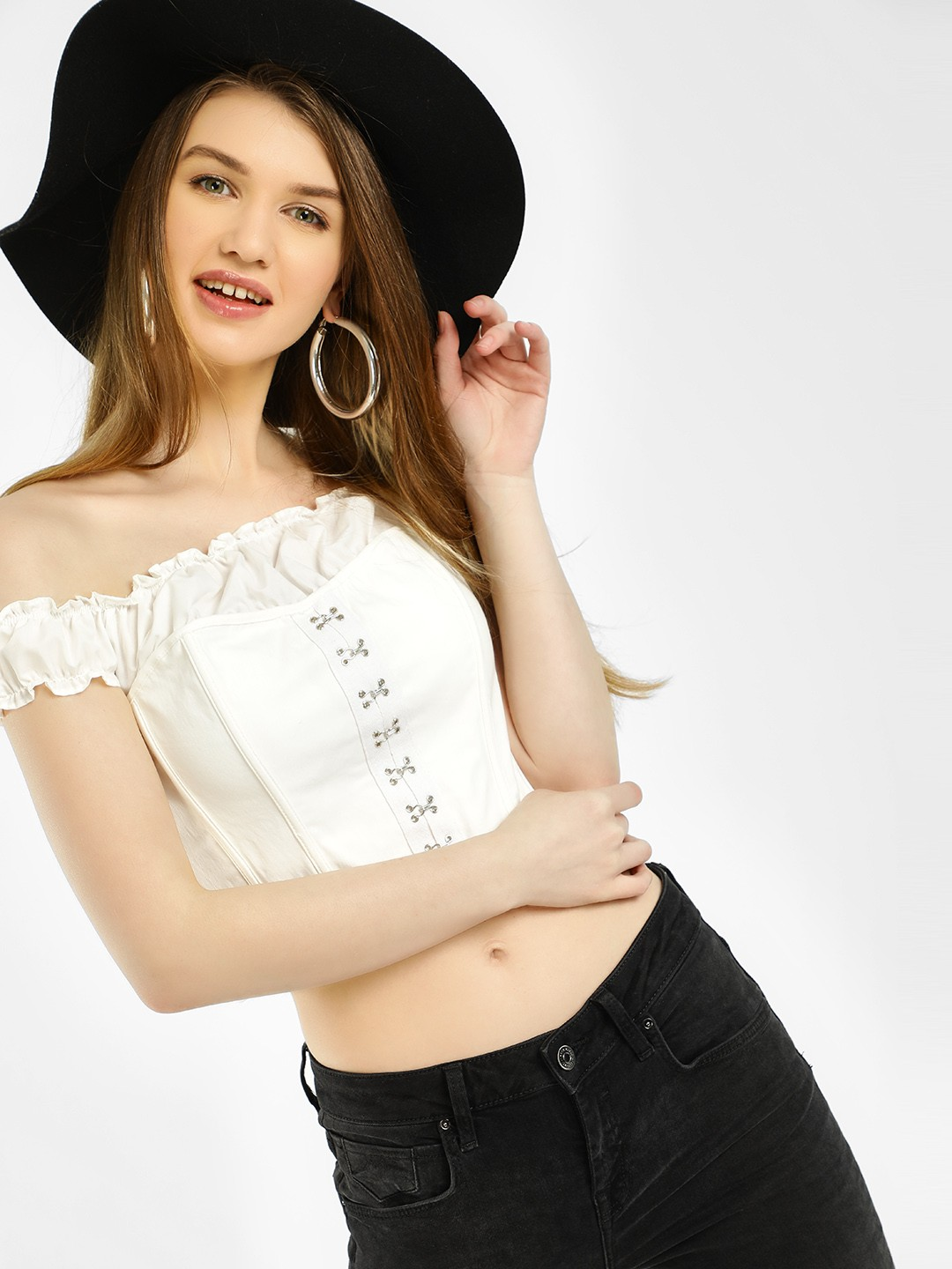 Iris White Off-Shoulder Corset Bustier Crop Top 1
