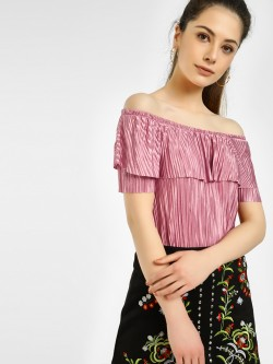 Iris Plisse Off-Shoulder Top