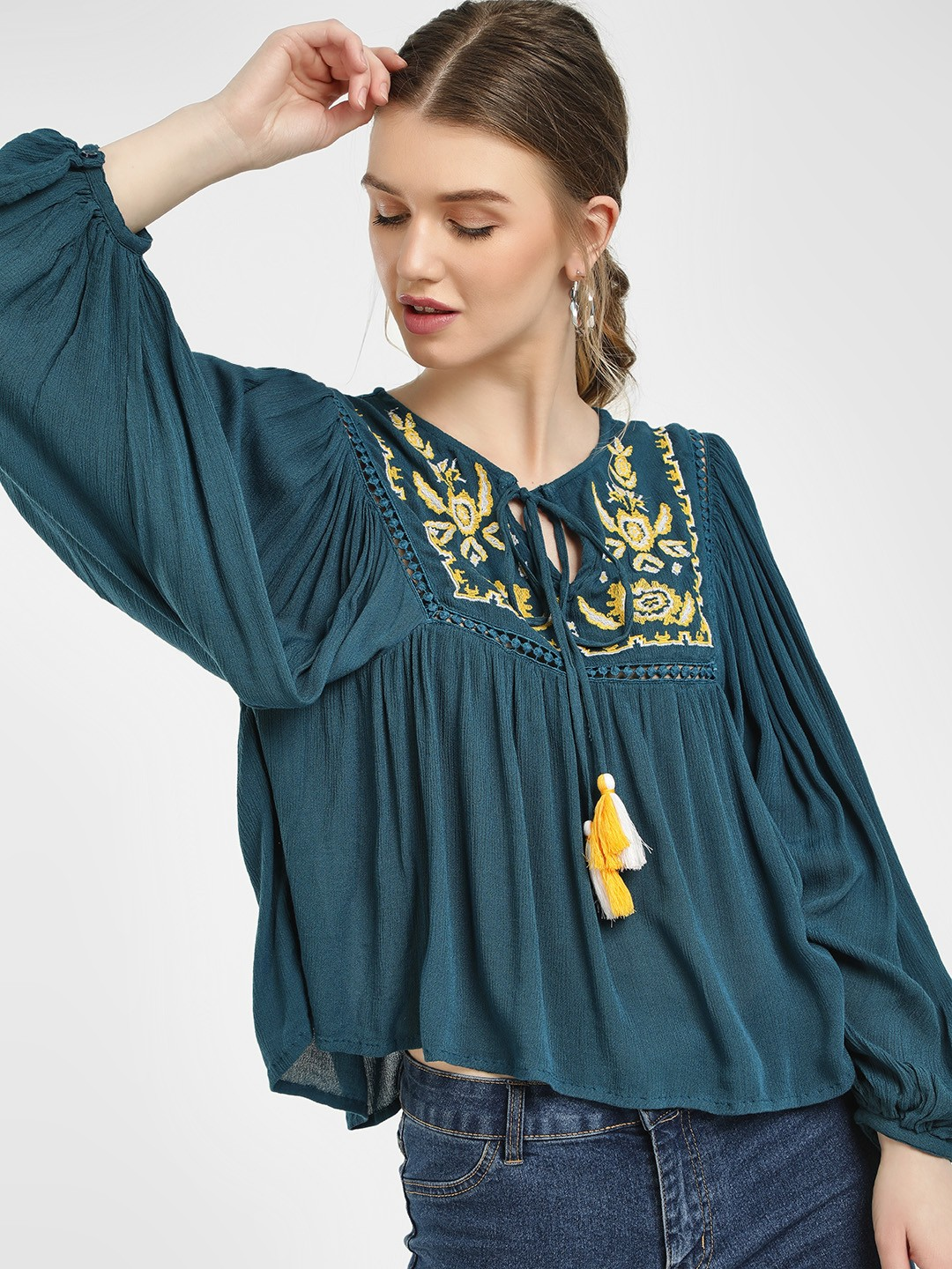 Sbuys Blue Embroidered Yoke Peasant Blouse 1