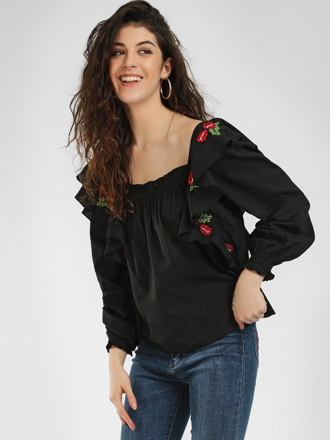 Sbuys Black Ruffle Sleeves Embroidered Blouse 1