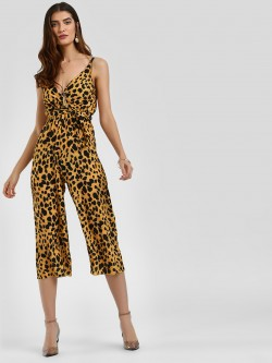 Missi Clothing Leopard Print Wrap Jumpsuit