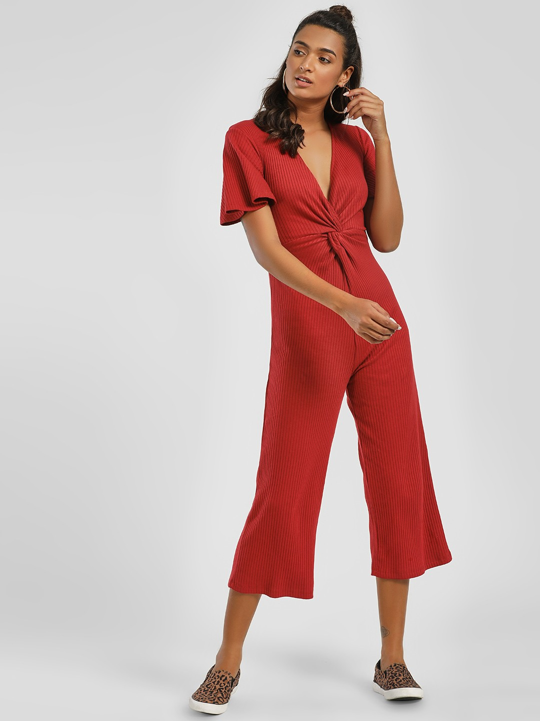 KOOVS Red Front Twist Knot Ribbed Jumpsuit 1
