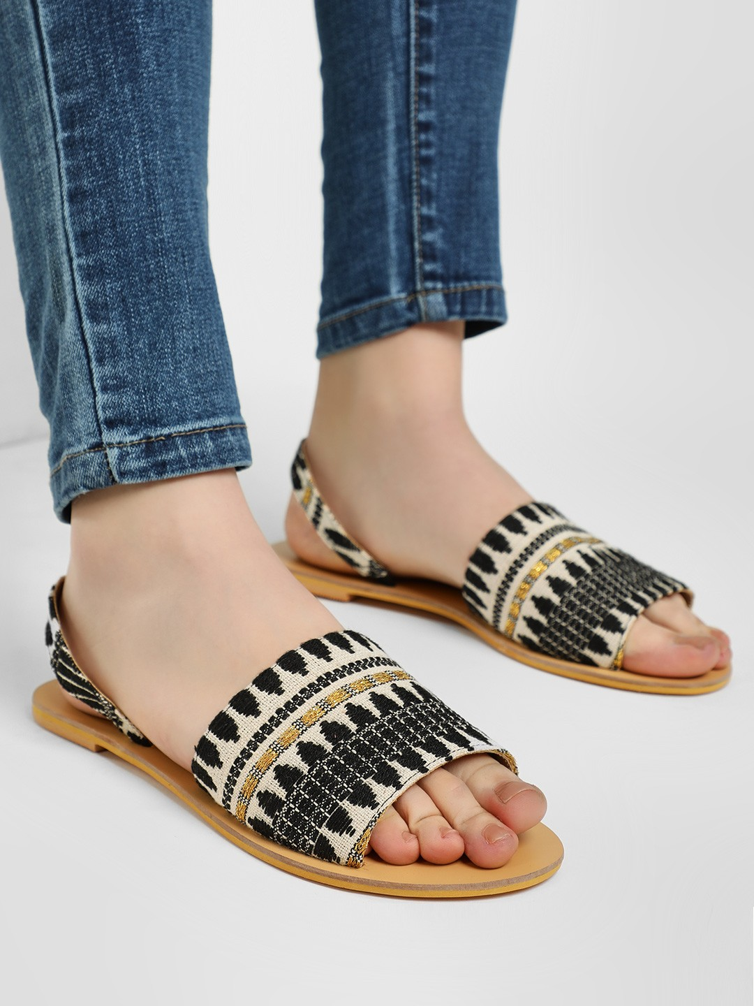 KOOVS BLACK MULTI Embroidered Slingback Flat Sandals 1