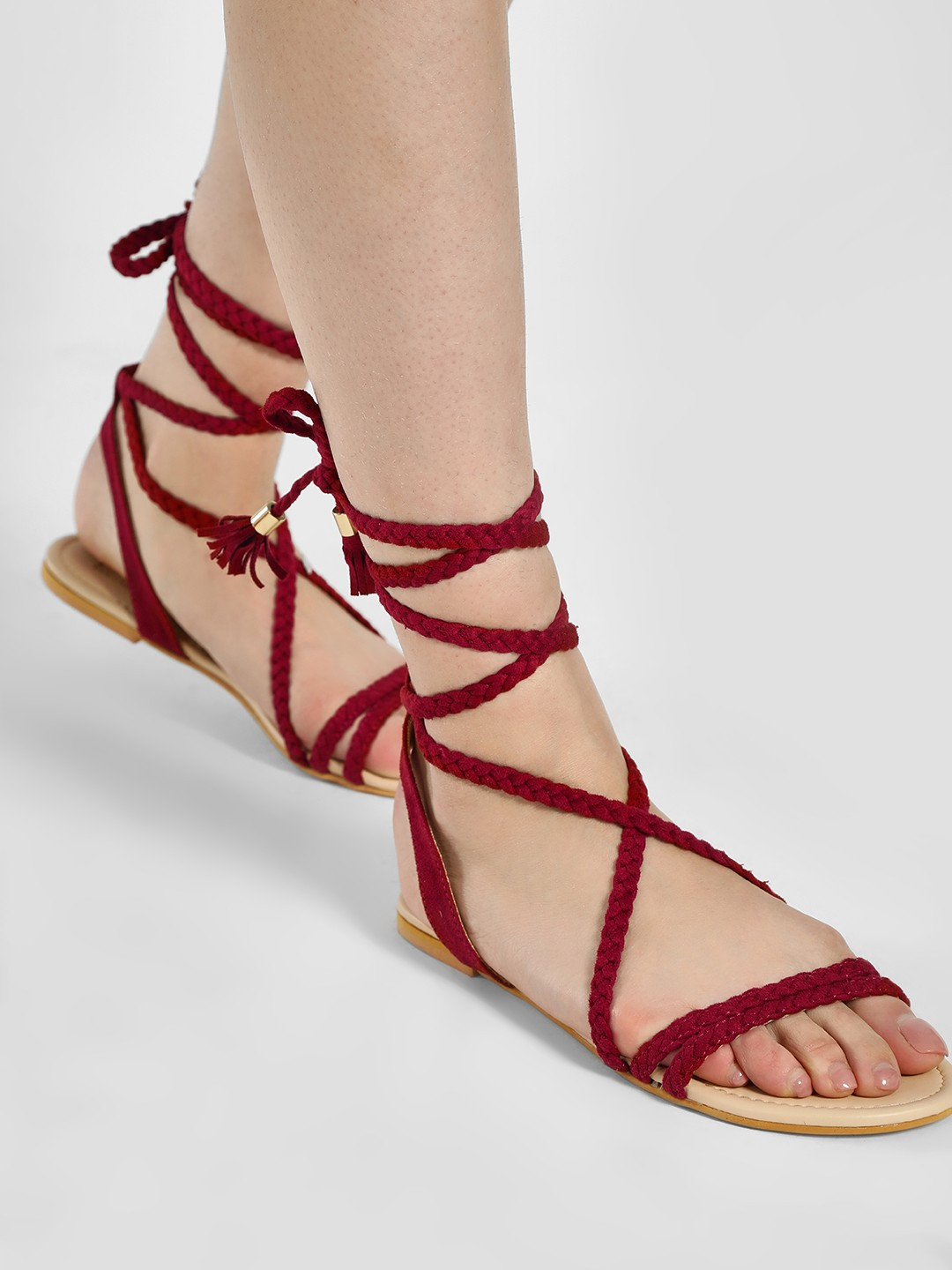 Buy Koovs Burgundy Braided Ankle Tie Flat Sandals For