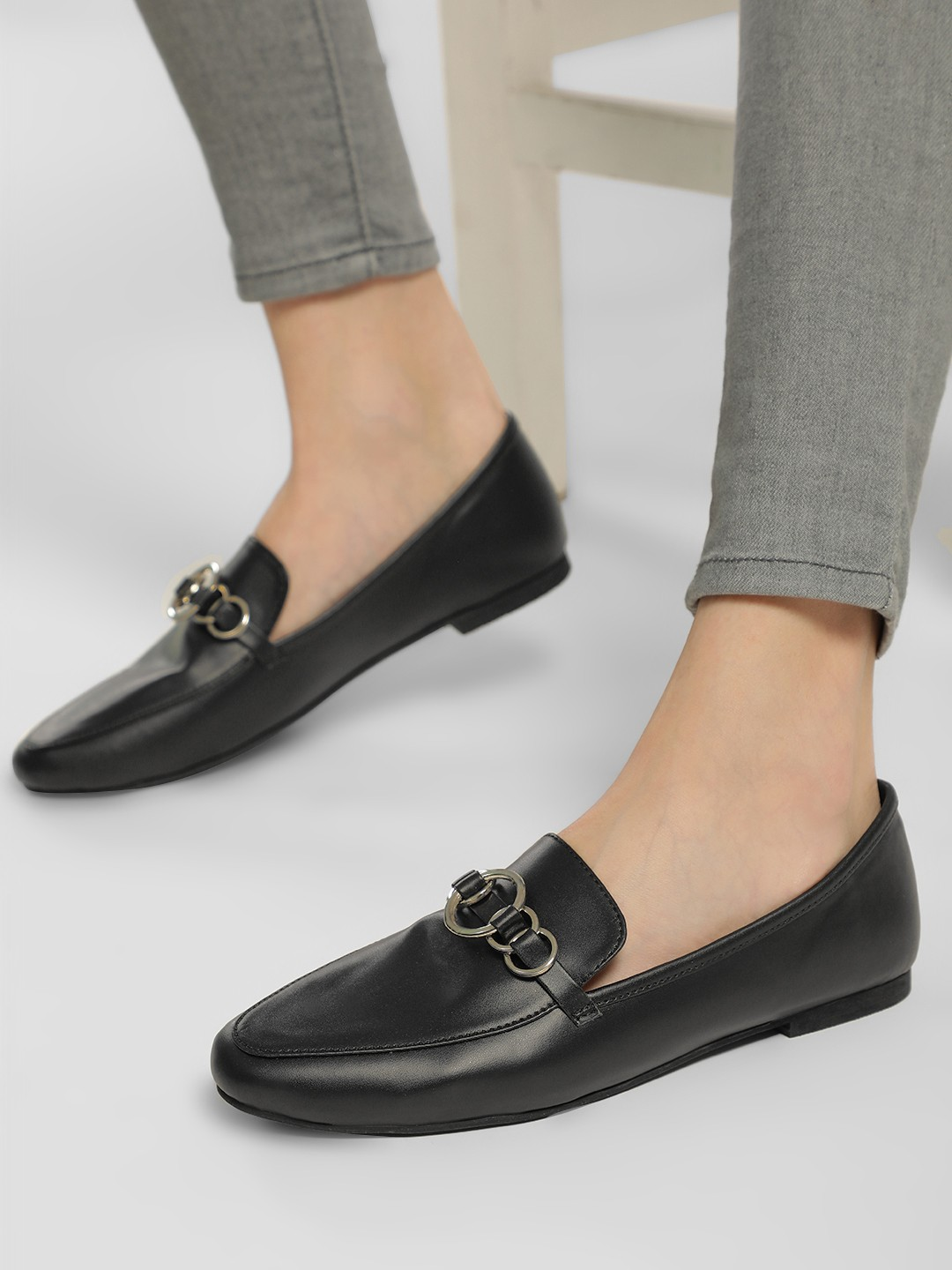 KOOVS Black O-Ring Loafers 1