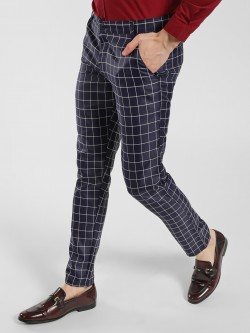 Mr Button Windowpane Checkered Slim-Fit Trousers