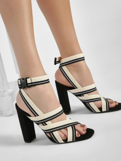 Intoto Suede Elastic Strap Heeled Sandals