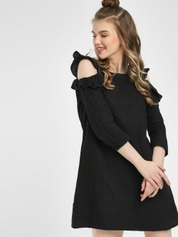 Sbuys Cold Shoulder Shift Dress
