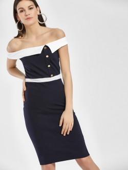 Quiz Colour Block Bardot Neck Midi Dress