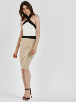 Quiz Colour Block Halter Neck Midi Dress