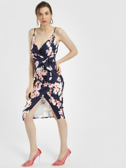 Quiz Floral Print Wrap Bodycon Dress