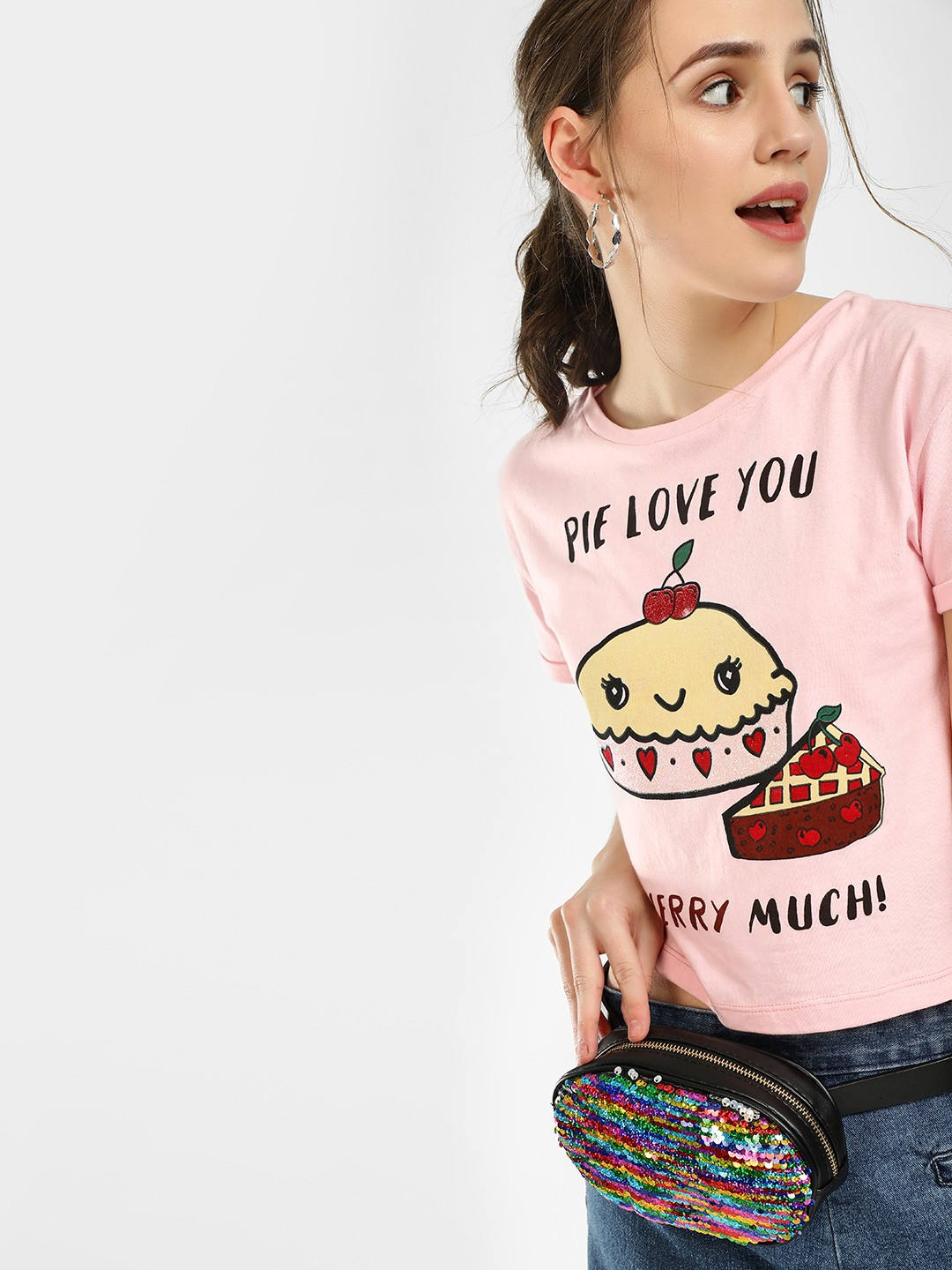 KOOVS Light Pink Slogan Placement Print Crop T-Shirt 1