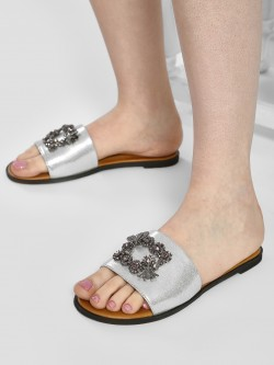 Sole Story Brooch Metallic Strap Flat Sandals