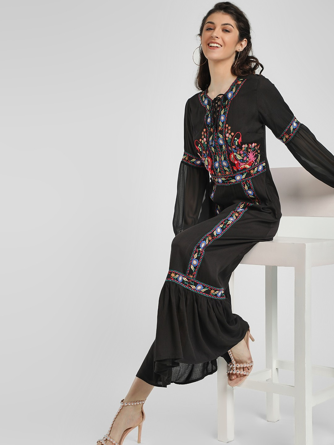 Kisscoast Black Floral Embroidered Maxi Dress 1