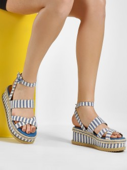 KOOVS Cross Strap Flatform Wedge Sandals