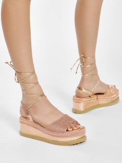 KOOVS Diamante Embellished Tie-Up Wedges
