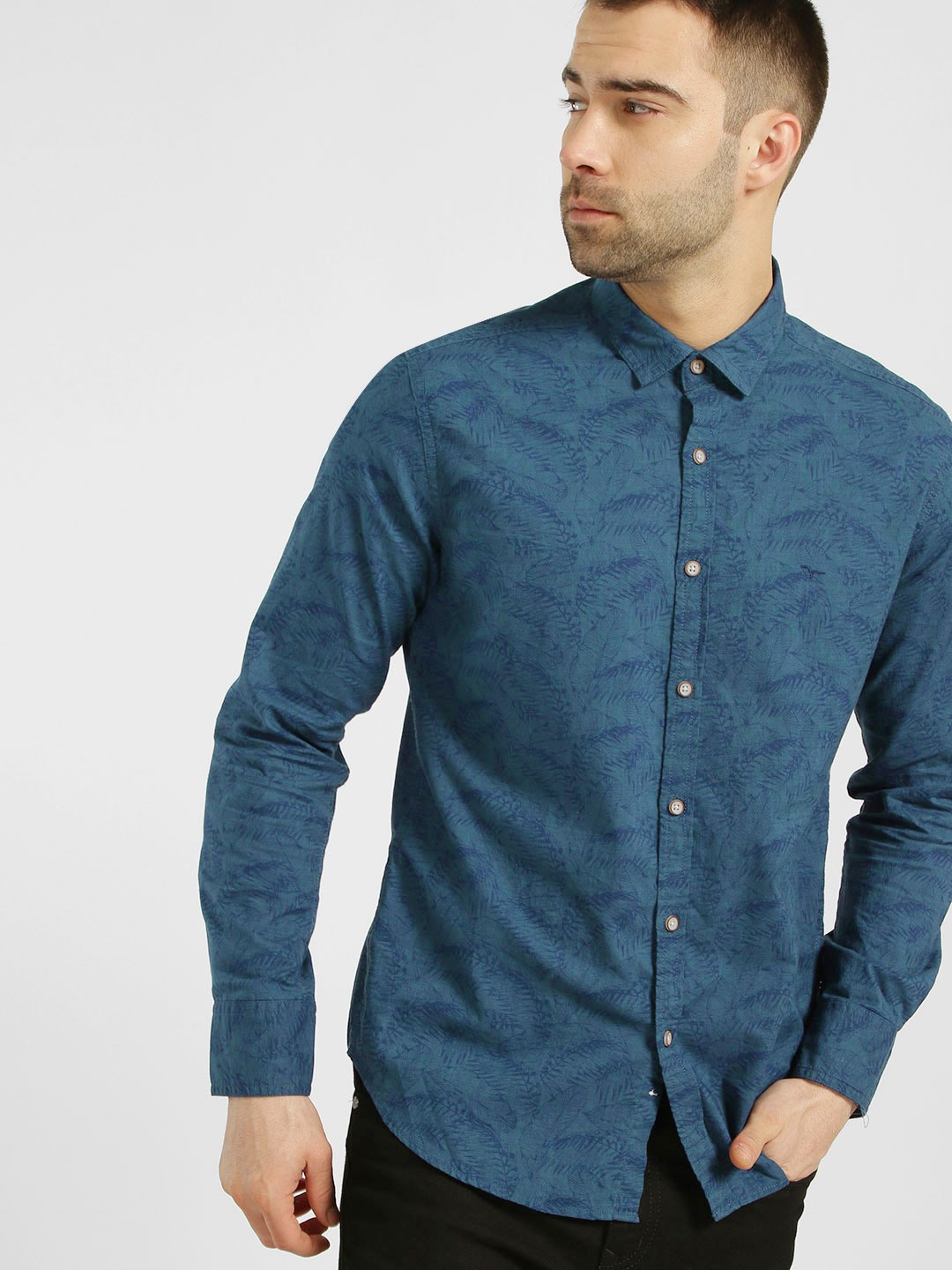 Flying Machine Blue Tropical Print Casual Shirt 1