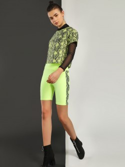 KOOVS Snake Print Tape Cycling Shorts