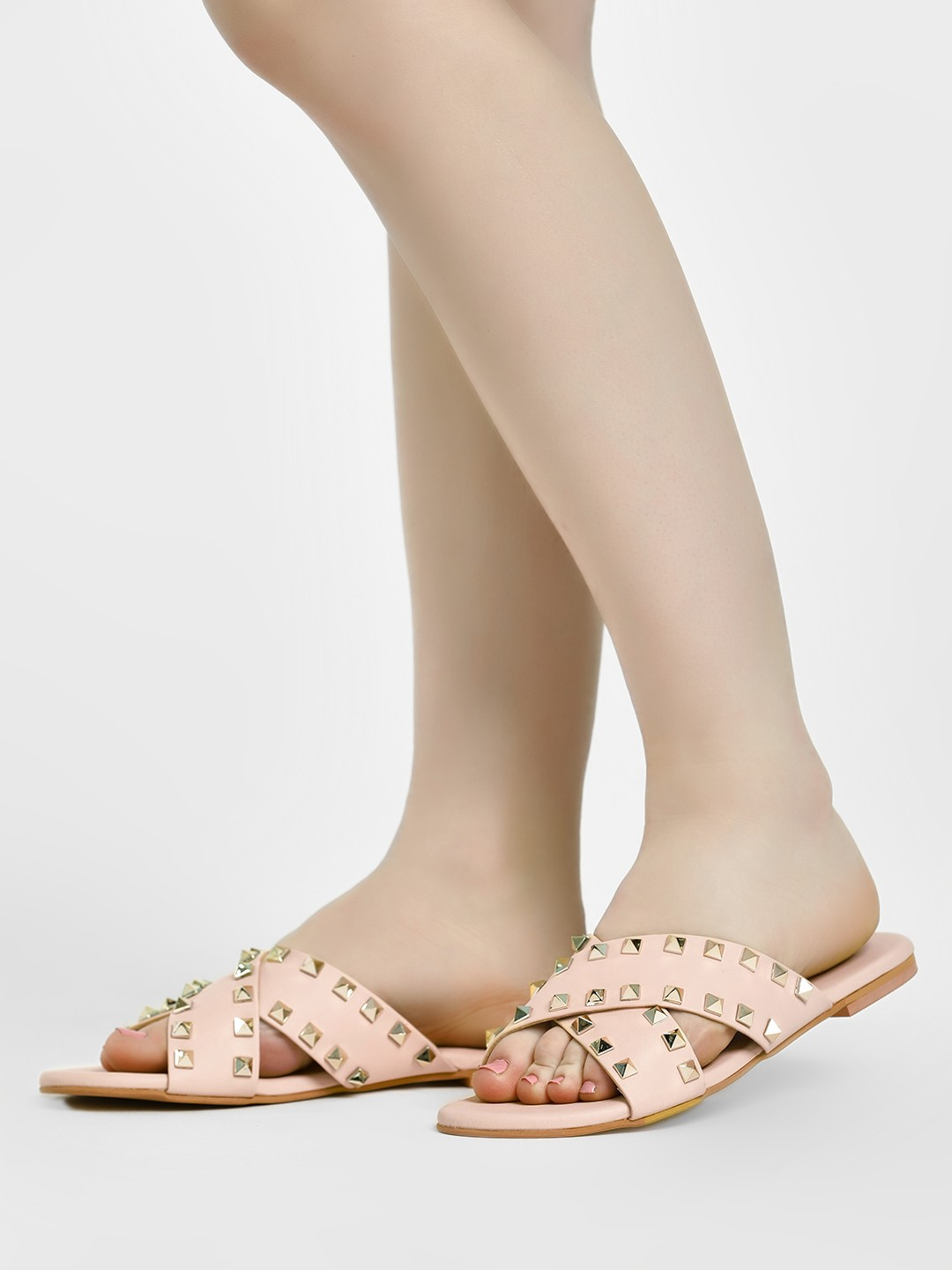 CAi Nude Criss-Cross Studded Slides 1