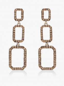 Style Fiesta Geometric Crystal Embellished Earrings