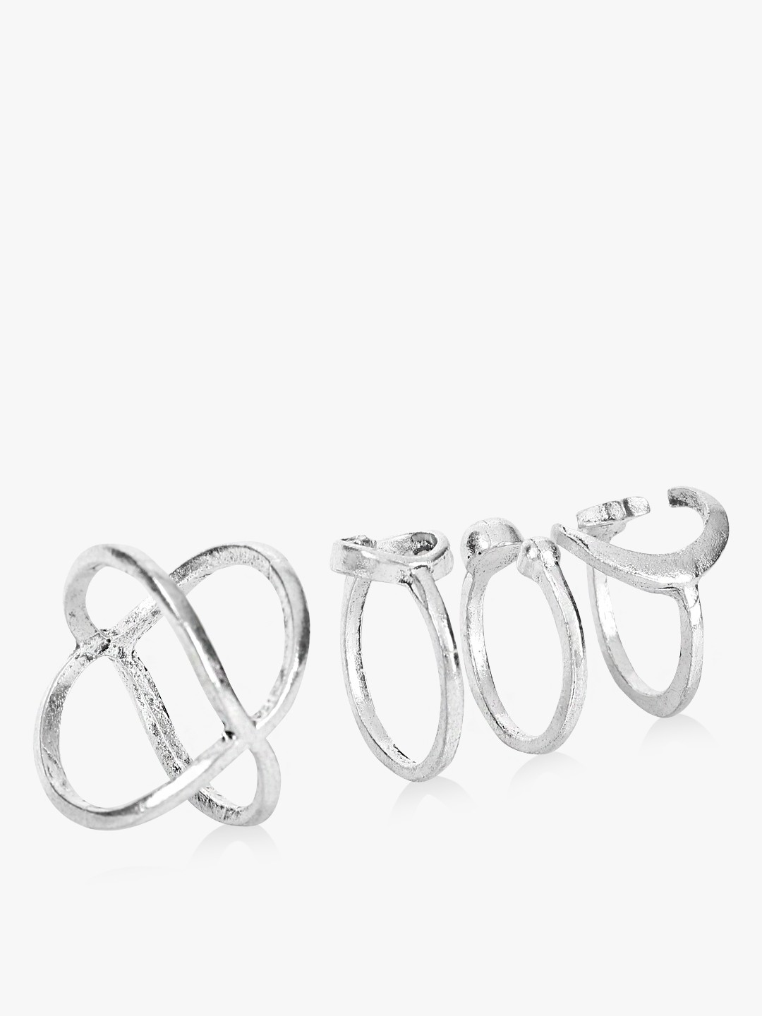 Style Fiesta Silver Multi-Shape Rings (Set of 4) 1