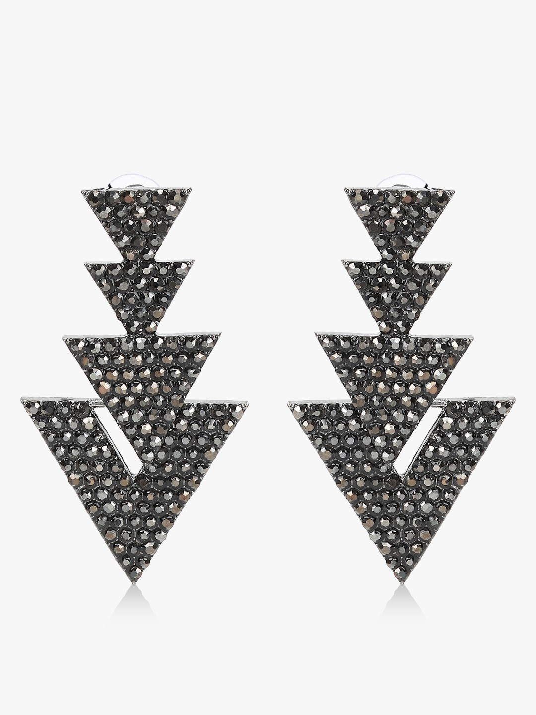Style Fiesta Black Statement Triangle Earrings 1