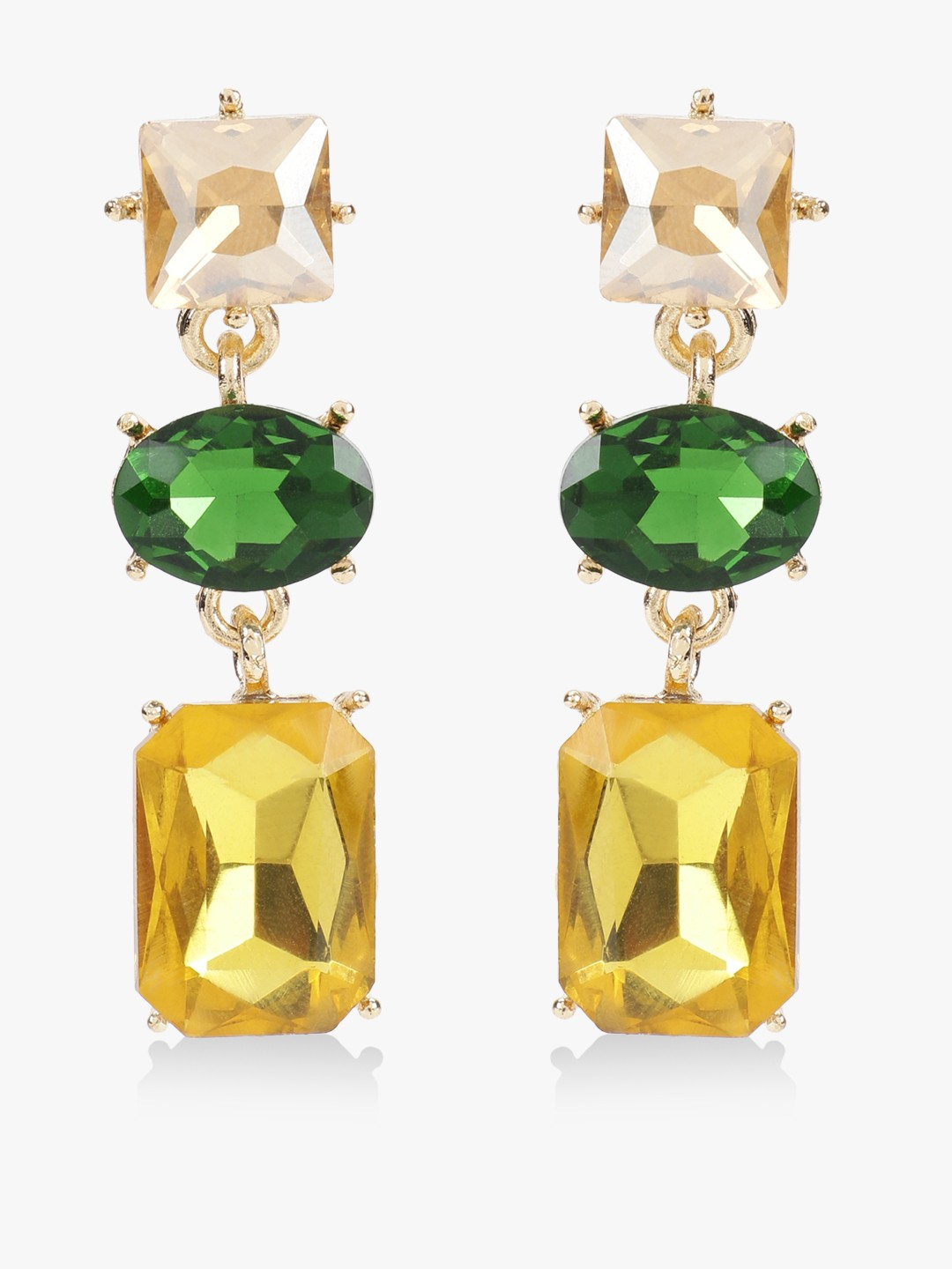 Style Fiesta Multi Gem Embellished Statement Earrings 1