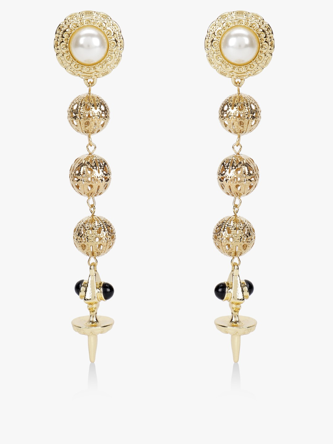 Style Fiesta Gold Pearl Embellished Drop Earrings 1