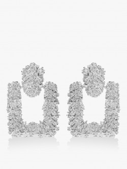 Style Fiesta Square Silver Encrusted Earrings