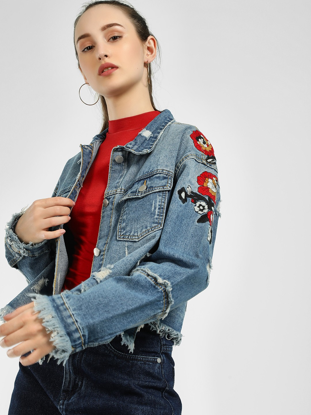 Origami Lily Blue Floral Embroidered Denim Jacket 1
