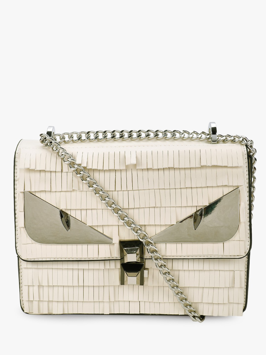 Origami Lily White Fringed Metal Cat-Eye Sling Bag 1