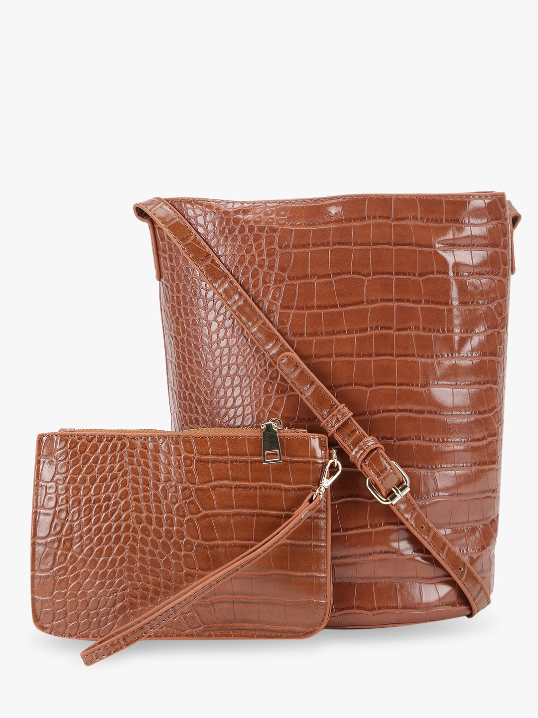 Origami Lily Tan Crocskin Bucket Tote Bag With Pouch 1