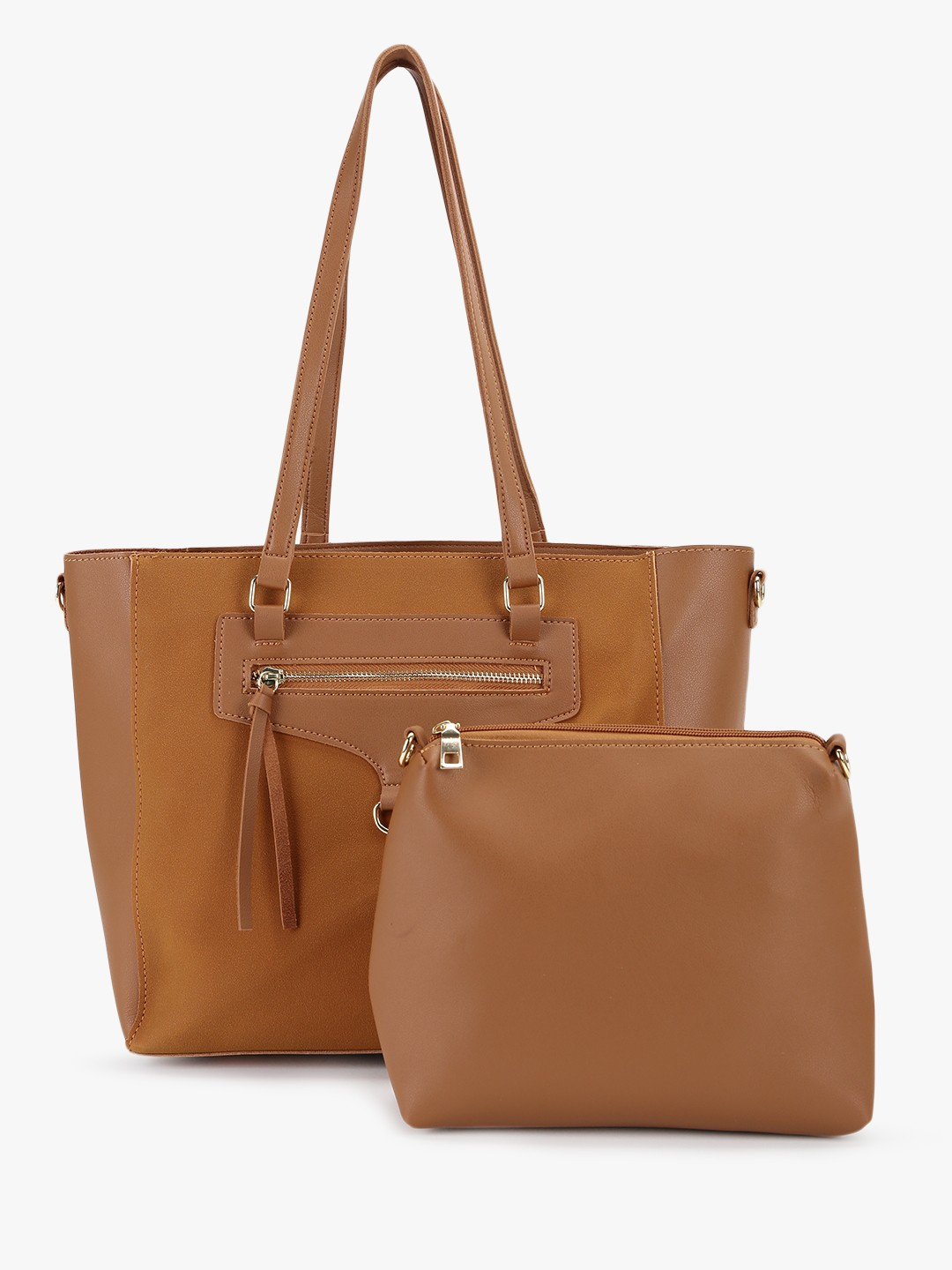 Origami Lily Tan Front Pocket Handbag With Pouch 1