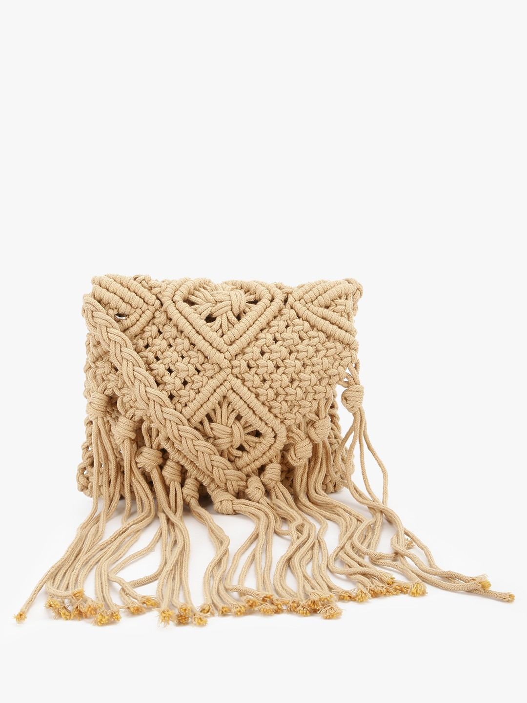 Origami Lily Light Brown Crochet Fringed Sling Bag 1