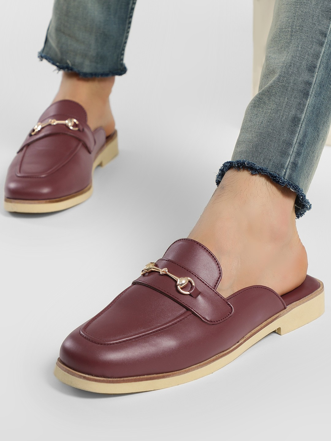 KOOVS Burgundy Horsebit Detail Loafers 1