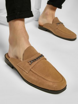 KOOVS Chain Detail Suede Loafers