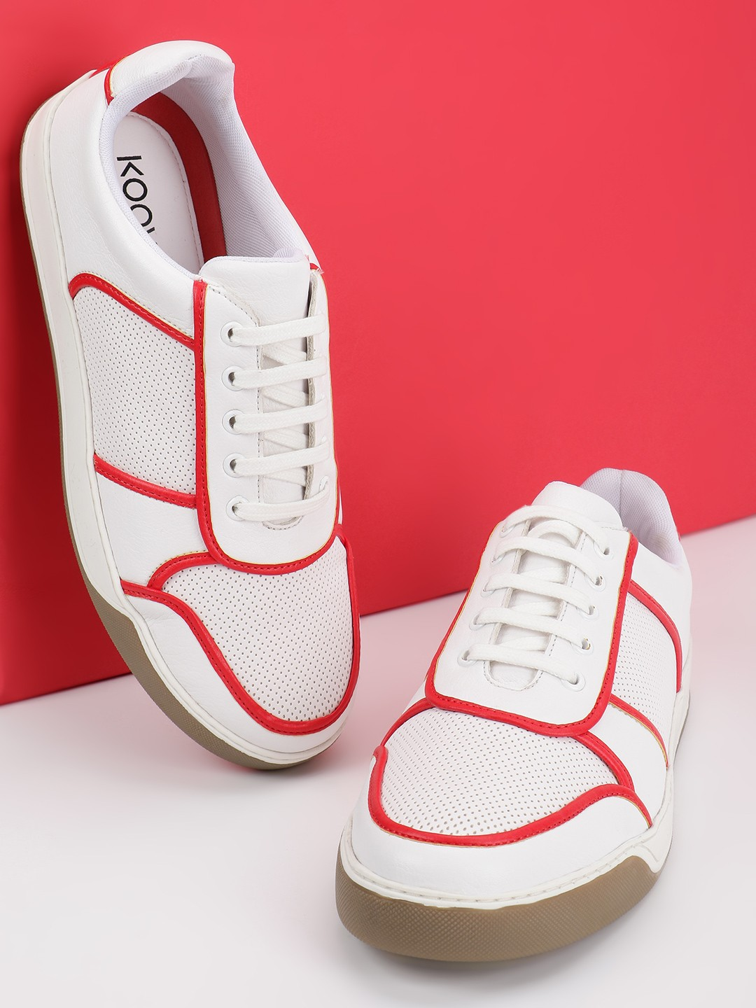 KOOVS White Contrast Piping Panelled Sneakers 1