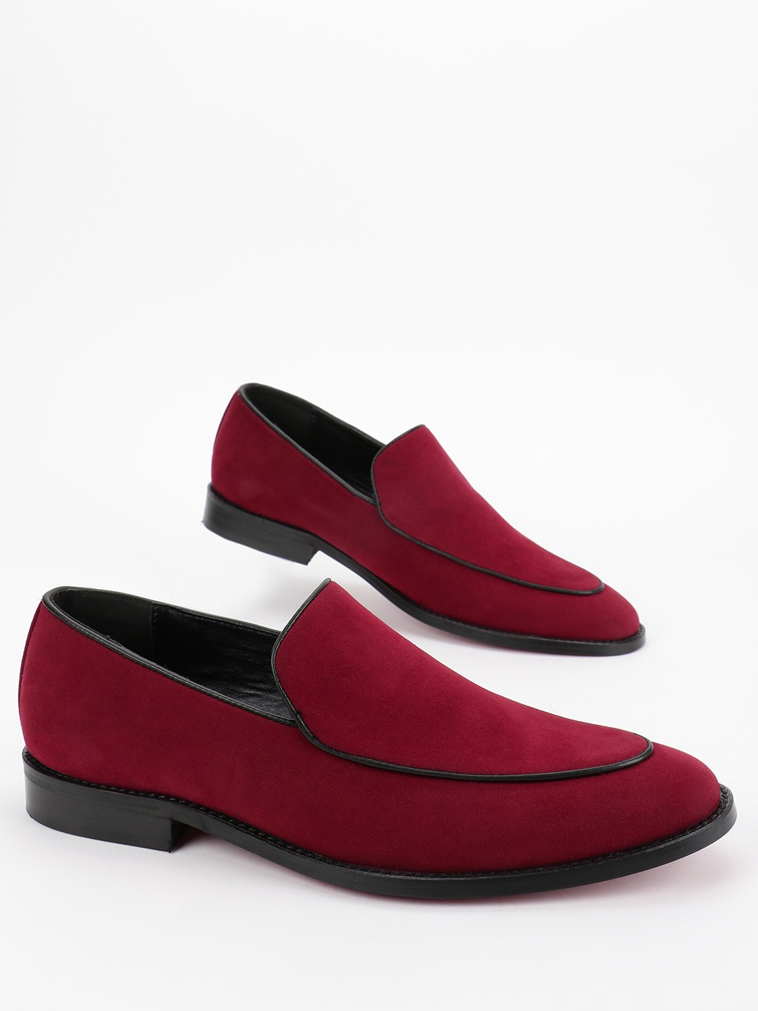KOOVS Burgundy Suede Contrast Piping Loafers 1