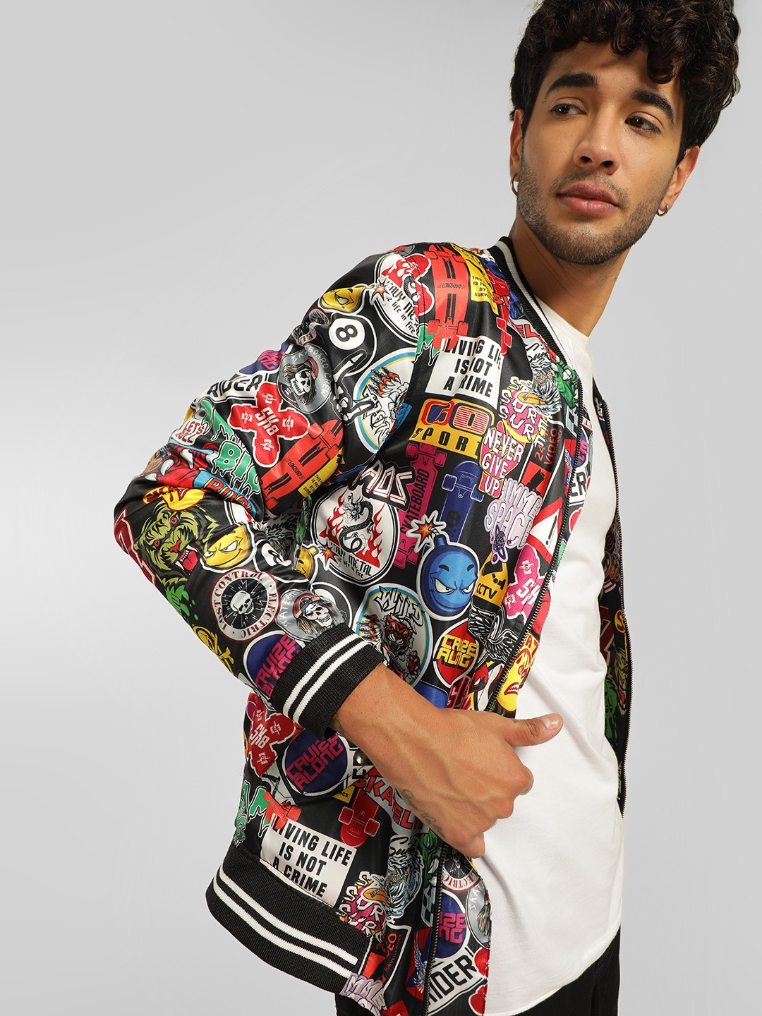 KOOVS Multi Street Sticker Print Bomber Jacket 1