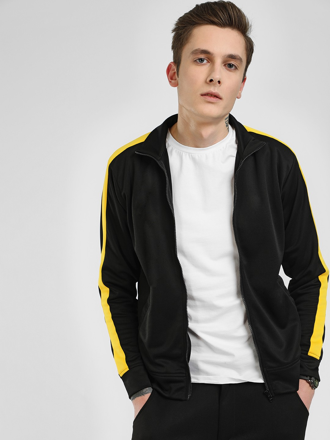 KOOVS Black Side Stripe Scuba Track Jacket 1
