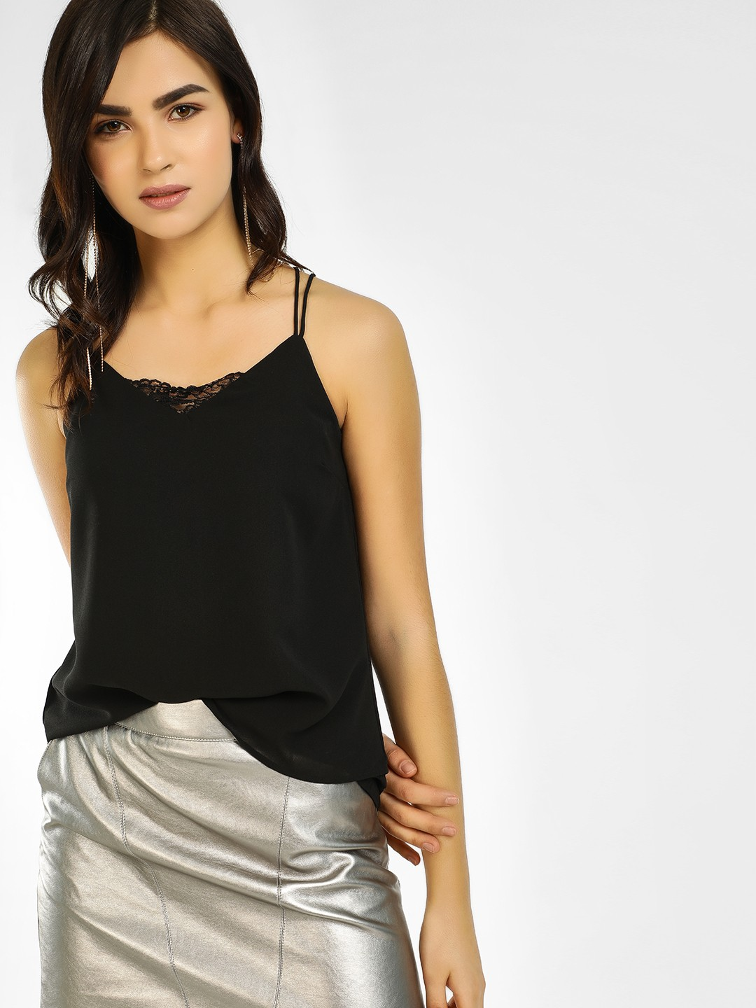 Vero Moda Black Lace Layered Cami Top 1