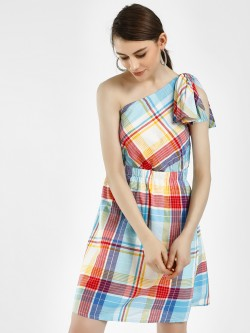 Vero Moda One Shoulder Check Print Dress